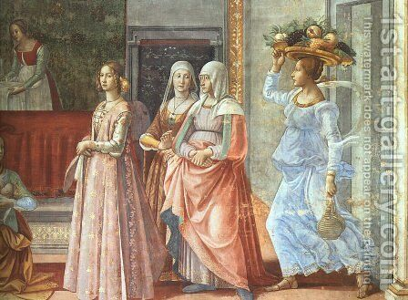 The Birth of John the Baptist (detail) 1485-90 by Domenico Ghirlandaio - Reproduction Oil Painting