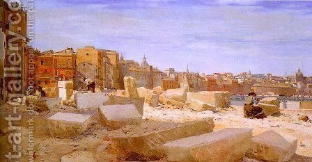 Stonebreakers at Lungotevere 1893 by Giovanni Giacometti - Reproduction Oil Painting