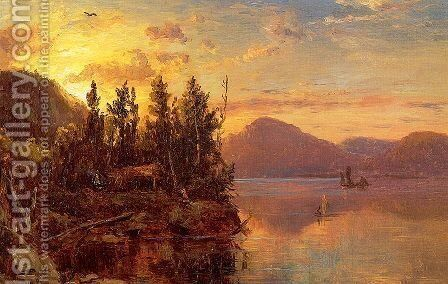 Lake George at Sunset 1862 by Marie-Regis-Francois Gignoux - Reproduction Oil Painting