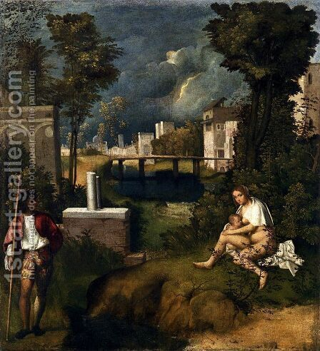 Tempest c. 1505 by Giorgio da Castelfranco Veneto (See: Giorgione) - Reproduction Oil Painting