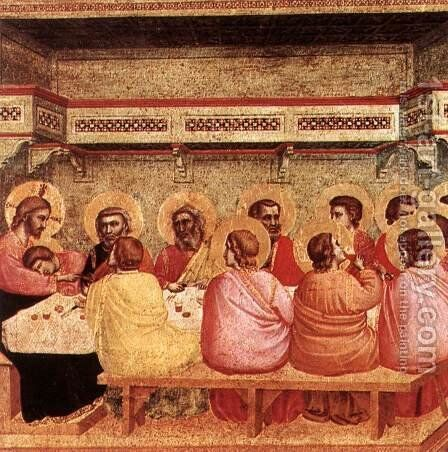 Last Supper 1320-25 by Giotto Di Bondone - Reproduction Oil Painting