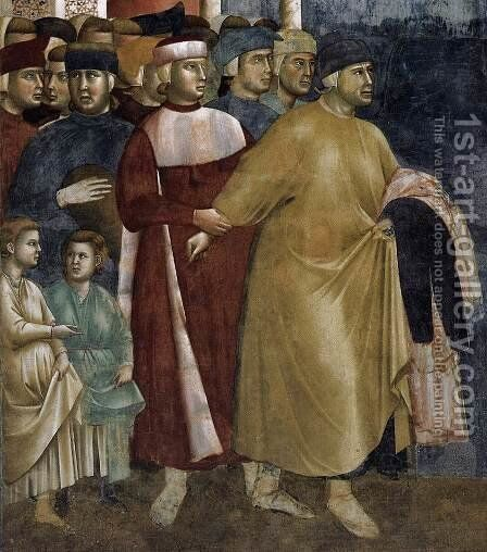 Legend of St Francis- 5. Renunciation of Wordly Goods (detail) 1297-99 by Giotto Di Bondone - Reproduction Oil Painting