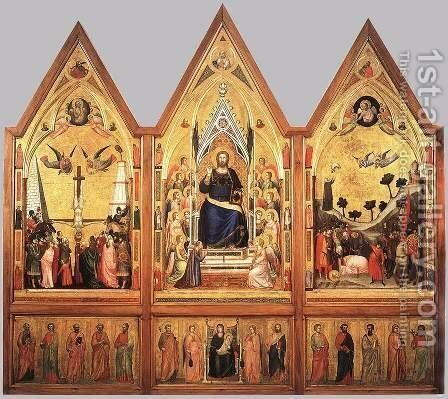 The Stefaneschi Triptych (recto) c. 1330 by Giotto Di Bondone - Reproduction Oil Painting