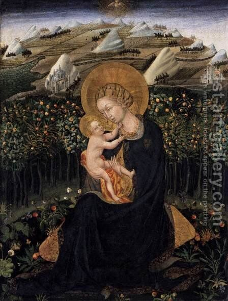 Madonna of Humility (Virgin and Child) c. 1442 by Giovanni di Paolo - Reproduction Oil Painting