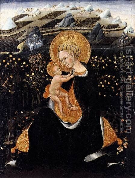 Madonna of Humility c. 1435 by Giovanni di Paolo - Reproduction Oil Painting