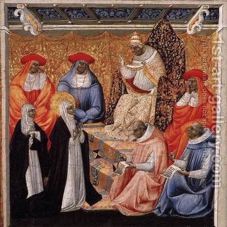 St Catherine before the Pope at Avignon c. 1460 by Giovanni di Paolo - Reproduction Oil Painting