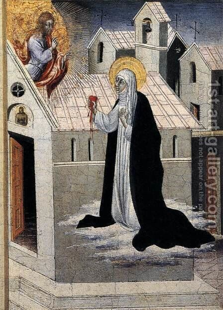 St Catherine Exchanging her Heart with Christ c. 1475 by Giovanni di Paolo - Reproduction Oil Painting
