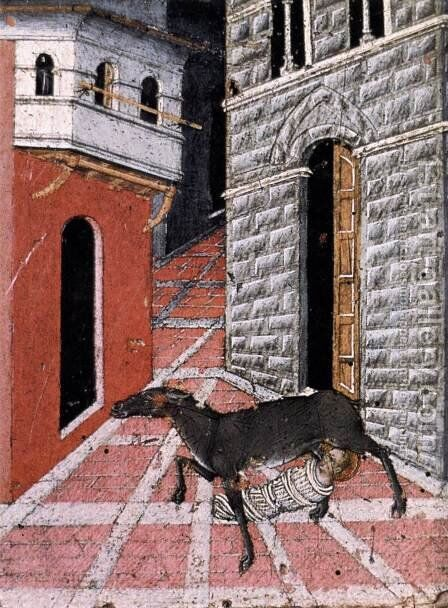 St Stephen Suckled by a Dog 1450 by Giovanni di Paolo - Reproduction Oil Painting