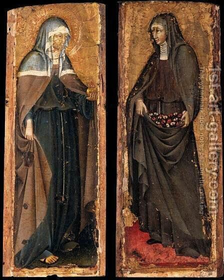 Sts Clare and Elizabeth of Hungary c. 1445 by Giovanni di Paolo - Reproduction Oil Painting