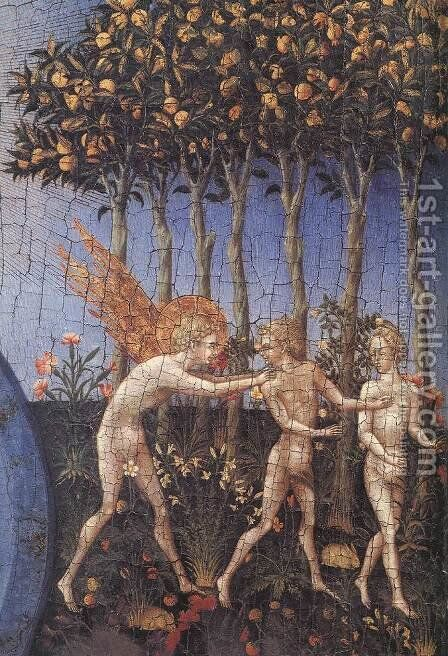 The Creation and the Expulsion from the Paradise (detail) c. 1445 by Giovanni di Paolo - Reproduction Oil Painting