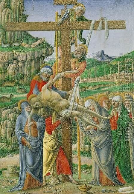 Descent from the Cross 1475-76 by Girolamo Da Cremona - Reproduction Oil Painting