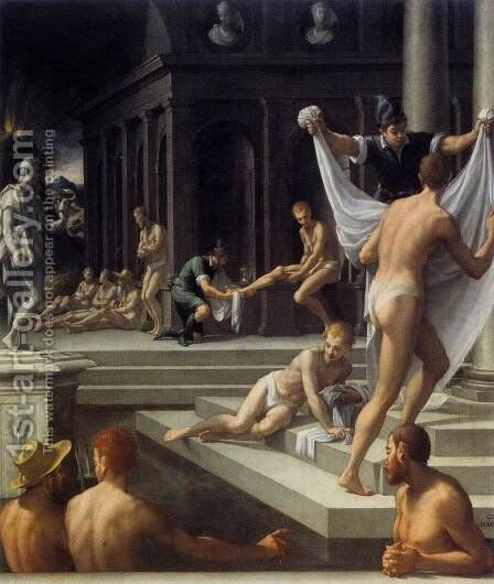 Baths at Pozzuoli 1570-72 by Girolamo Del Crocifissaio (see Macchietti) - Reproduction Oil Painting