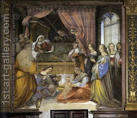 The Birth of the Virgin 1518 by Girolamo Del Pacchia - Reproduction Oil Painting