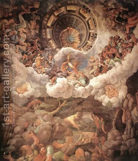 The Fall of the Gigants 1526-34 by Giulio Romano (Orbetto) - Reproduction Oil Painting