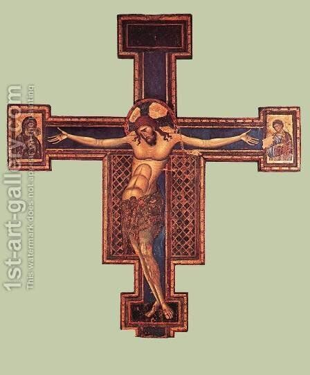Crucifix (1) 1240s by Giunta Pisano - Reproduction Oil Painting