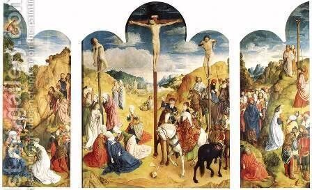 Calvary Triptych 1465-68 by Hugo Van Der Goes - Reproduction Oil Painting