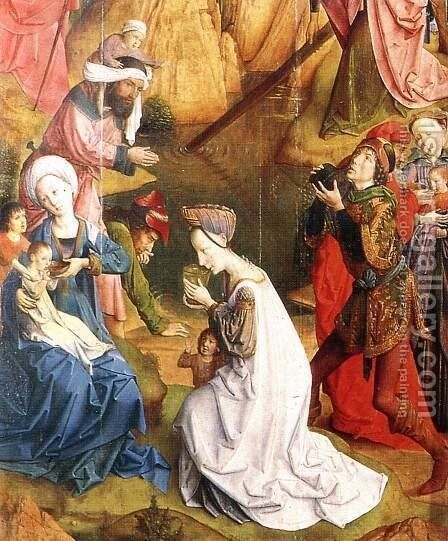 Calvary Triptych (detail 1) 1465-68 by Hugo Van Der Goes - Reproduction Oil Painting
