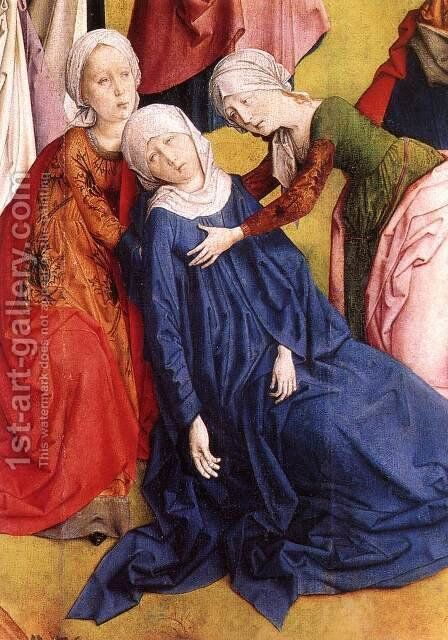 Calvary Triptych (detail 2) 1465-68 by Hugo Van Der Goes - Reproduction Oil Painting
