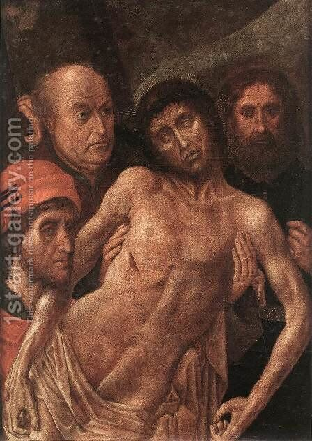 Deposition Diptych (Small Deposition, left wing) c. 1480 by Hugo Van Der Goes - Reproduction Oil Painting