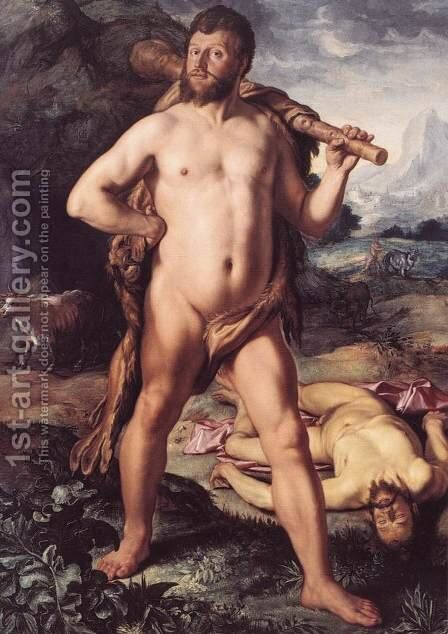 Hercules and Cacus 1613 by Hendrick Goltzius - Reproduction Oil Painting