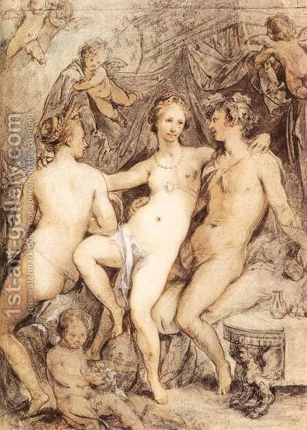 Venus between Ceres and Bacchus 1590s by Hendrick Goltzius - Reproduction Oil Painting