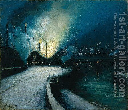 Industrial Scene, Pittsburgh 1928 by Aaron Harry Gorson - Reproduction Oil Painting