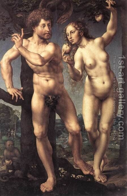 Adam and Eve 1525 by Jan (Mabuse) Gossaert - Reproduction Oil Painting