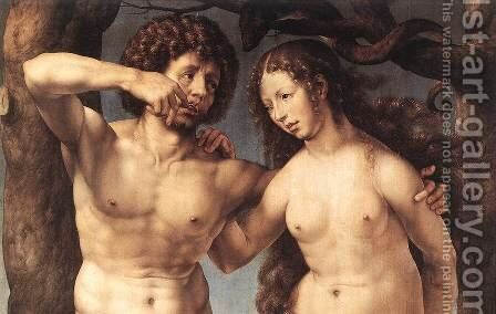 Adam and Eve (detail) c. 1520 by Jan (Mabuse) Gossaert - Reproduction Oil Painting