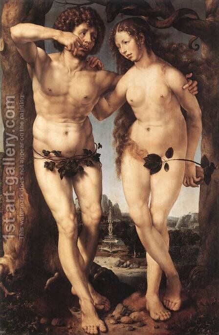Adam and Eve c. 1520 by Jan (Mabuse) Gossaert - Reproduction Oil Painting