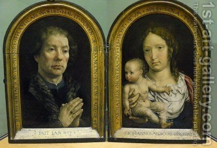 Diptych of Jean Carondelet 1517 by Jan (Mabuse) Gossaert - Reproduction Oil Painting