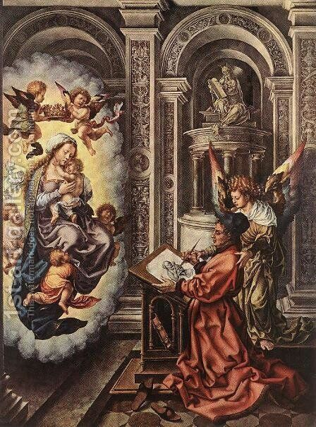 St Luke Painting the Madonna 1520-25 by Jan (Mabuse) Gossaert - Reproduction Oil Painting