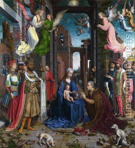 The Adoration of the Kings 1500-15 by Jan (Mabuse) Gossaert - Reproduction Oil Painting