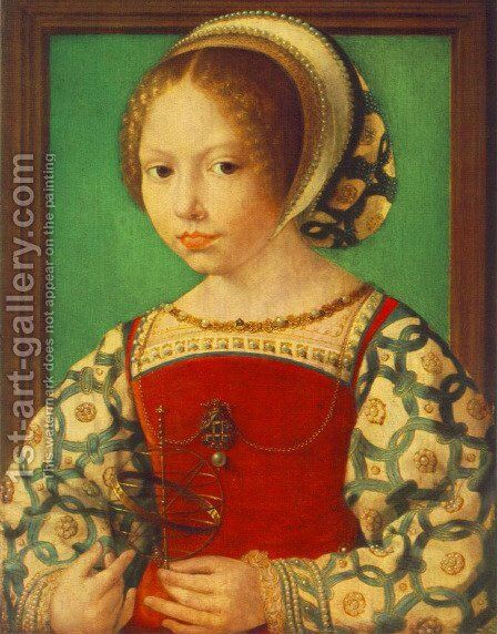 Young Girl with Astronomic Instrument c. 1520 by Jan (Mabuse) Gossaert - Reproduction Oil Painting