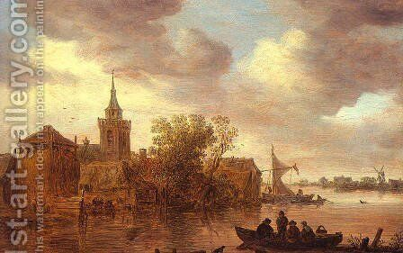 A Church and a Farm on the Bank of a River 1653 by Jan van Goyen - Reproduction Oil Painting