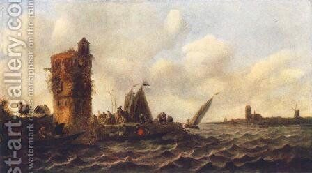 A View on the Maas near Dordrecht 1643 by Jan van Goyen - Reproduction Oil Painting