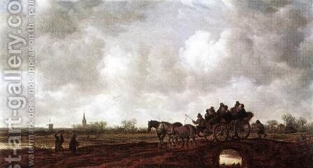 Horse Cart on a Bridge 1648 by Jan van Goyen - Reproduction Oil Painting