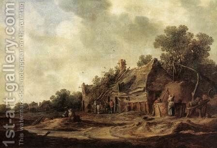 Peasant Huts with a Sweep Well 1633 by Jan van Goyen - Reproduction Oil Painting