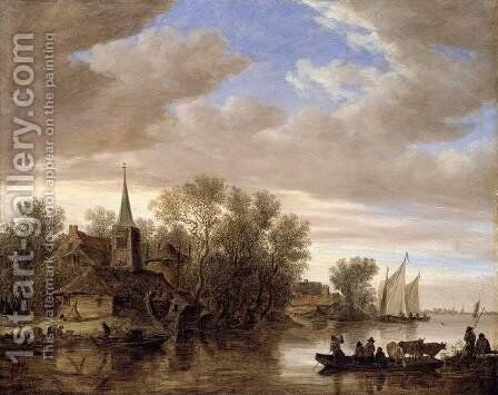 River Landscape with a Cattle-Ferry 1654 by Jan van Goyen - Reproduction Oil Painting