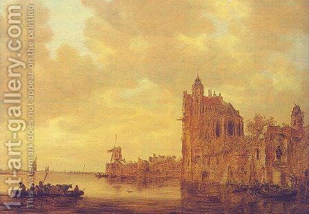 River Landscape with Pellekussenpoort, Utrecht, and Gothic Choir, 1643 by Jan van Goyen - Reproduction Oil Painting