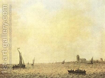 View of Dordrecht from the Oude Maas 1644 by Jan van Goyen - Reproduction Oil Painting