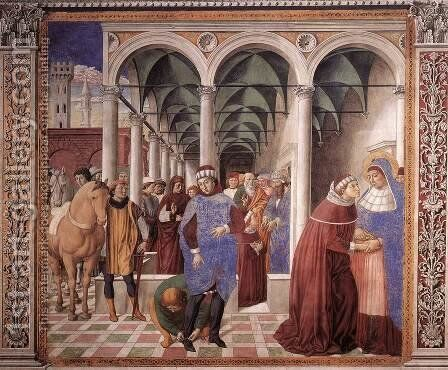 Arrival of St Augustine in Milan (scene 8, north wall) 1464-65 by Benozzo di Lese di Sandro Gozzoli - Reproduction Oil Painting