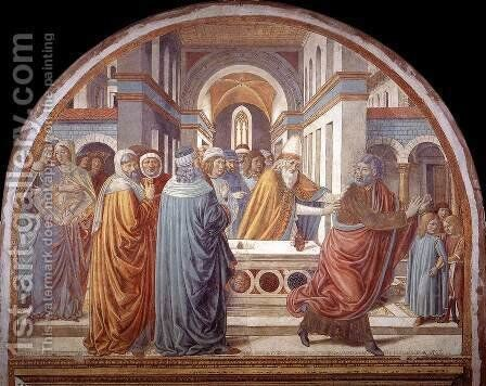 Expulsion of Joachim from the Temple 1491 by Benozzo di Lese di Sandro Gozzoli - Reproduction Oil Painting