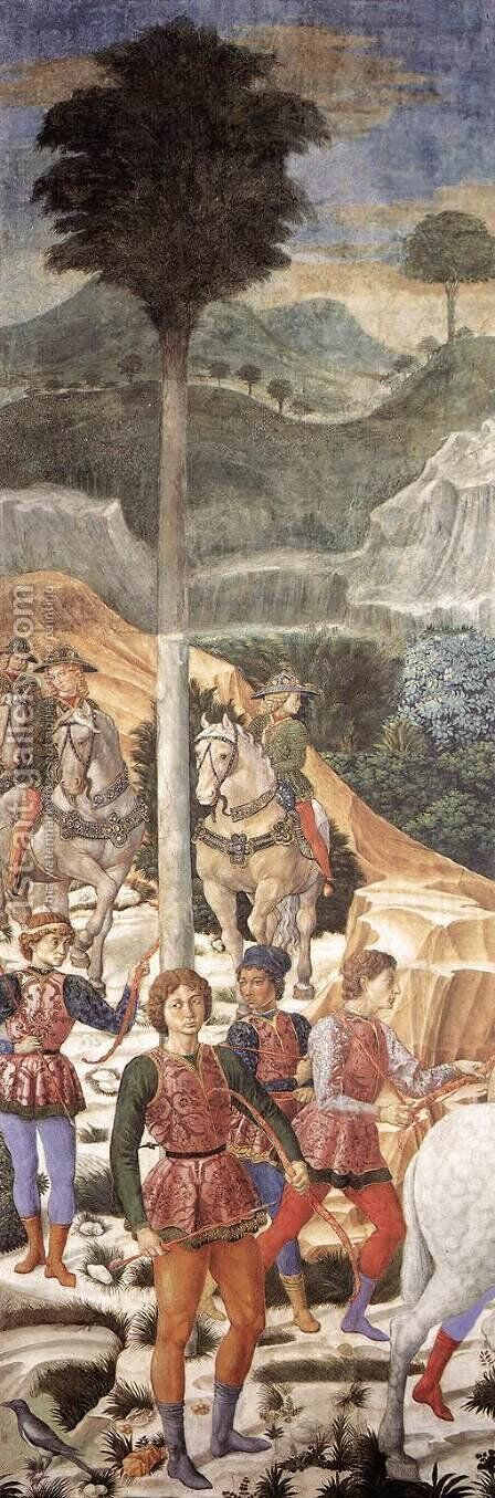 Procession of the Magi (moved section, backfill wall) 1459-60 by Benozzo di Lese di Sandro Gozzoli - Reproduction Oil Painting