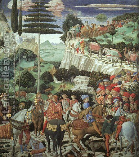 Procession of the Magus Melchoir  1459 by Benozzo di Lese di Sandro Gozzoli - Reproduction Oil Painting