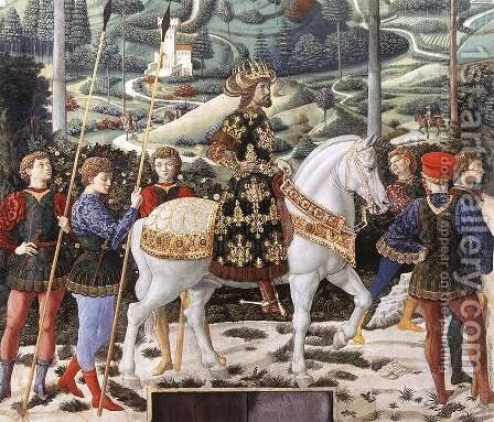 Procession of the Middle King (detail 1) 1459-60 by Benozzo di Lese di Sandro Gozzoli - Reproduction Oil Painting