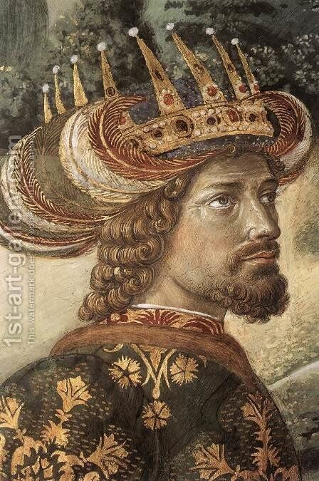 Procession of the Middle King (detail 2) 1459-60 by Benozzo di Lese di Sandro Gozzoli - Reproduction Oil Painting
