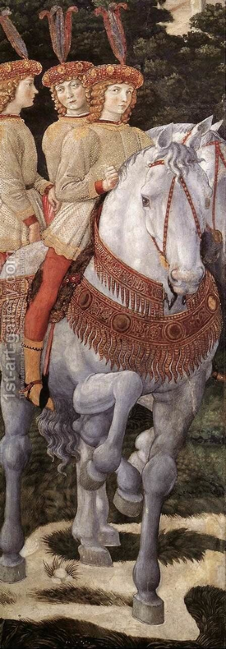 Procession of the Middle King (detail 4) 1459-60 by Benozzo di Lese di Sandro Gozzoli - Reproduction Oil Painting