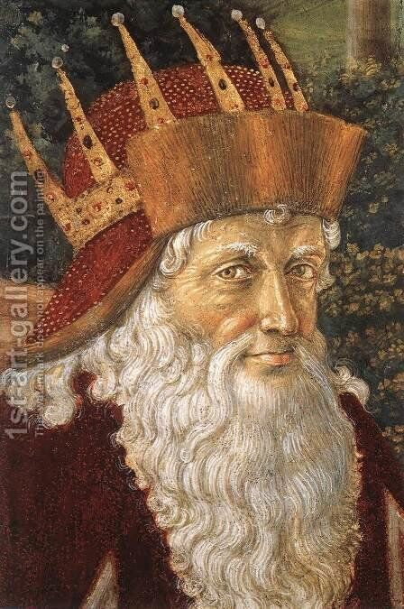 Procession of the Oldest King (detail 3) 1459-60 by Benozzo di Lese di Sandro Gozzoli - Reproduction Oil Painting