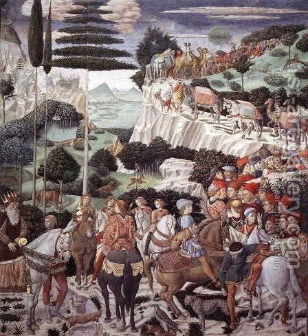Procession of the Oldest King (west wall) 1459-60 by Benozzo di Lese di Sandro Gozzoli - Reproduction Oil Painting