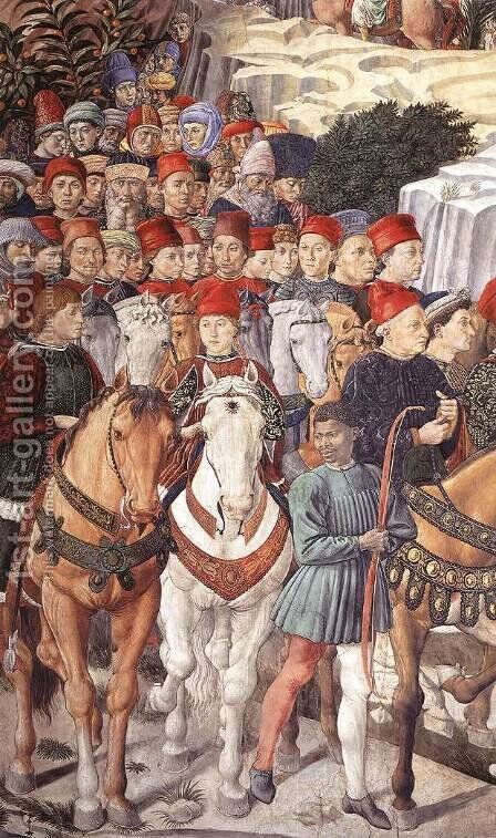 Procession of the Youngest King (detail 2) 1459-60 by Benozzo di Lese di Sandro Gozzoli - Reproduction Oil Painting